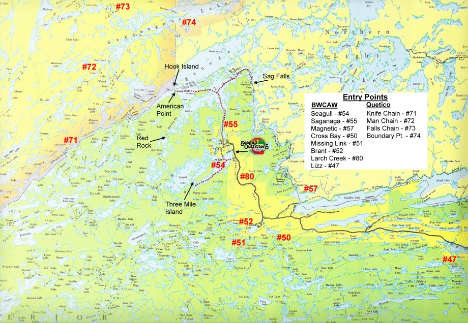 Bwca Entry Points And Map Of Permit Entry Points Off The Gunflint Trail