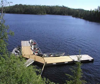Our 8 slip dock on Saganago Lake