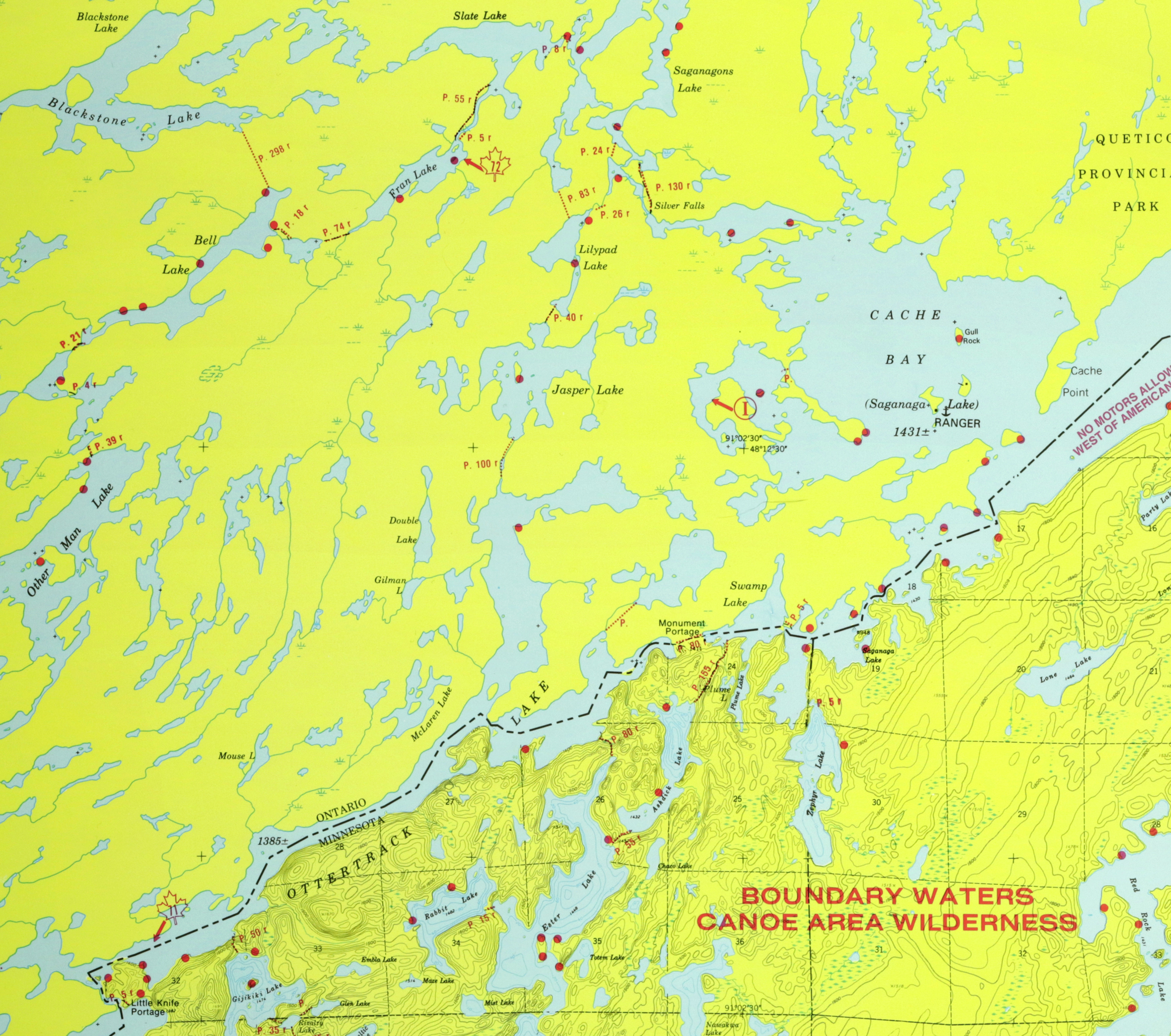 Ottertrack Base Camp Quetico Seagull Canoe Outfitters - Bwca entry point map